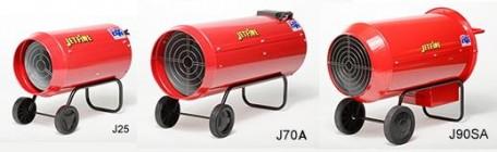 Jetfire LPG Industrial Space Heaters; J25A, J33A, J50A, J70A, J90A and J90SA ser